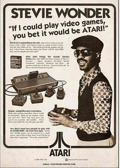 Stevie Wonder - Atari ad #atari #videogamead #steviewonder Vintage Humor, Funny Vintage Ads, Pub Vintage, Photo Vintage, Funny Ads, Poster Vintage, Hilarious, Funny Images, Funny Pictures