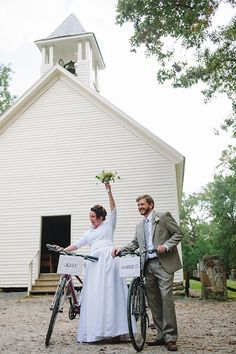 I love how happy this couple is! Cades Cove National Park wedding at Primitive Baptist Church, photos by Dixie Pixel Photography | junebugweddings.com