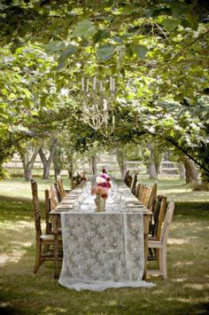 Outdoor Party Seating Mismatched Chairs Ideas For 2019 Vintage Rosen, Outdoor Dining, Outdoor Decor, Rustic Outdoor, Outdoor Ceremony, Lace Table Runners, Lace Runner, Wedding Decorations, Table Decorations