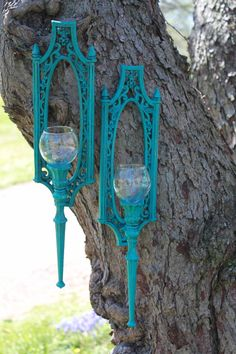 Turquoise Wall Sconces. Upcycled