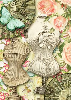 Sewing Ladies Clothes Collage Sheet, Victorian Ladies Fashions and Accessories, Sample Collage - Fashionable ladies from the Victorian era all sized for small format art, able to fit into x inch cards Decoupage Vintage, Decoupage Paper, Vintage Ephemera, Vintage Cards, Vintage Paper, Vintage Images, Vintage Sewing, Victorian Women, Victorian Era