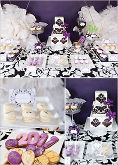 , The Couture Cakery designed a damask-themed dessert table and party (shared recenty at HWTM) that pulls in big white feathers and bold prints perfect for the holiday!