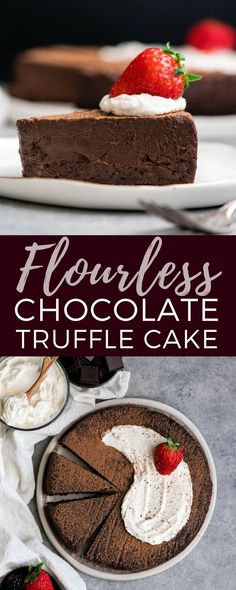 This Flourless Chocolate Truffle Cake Recipe is a gluten-free dessert for serious chocolate lovers. It's made with only 7 ingredients and is the perfect make-ahead treat for any party! #glutenfree #flourless #chocolatecake #chocolate #dessert #recipe via @joyfoodsunshine