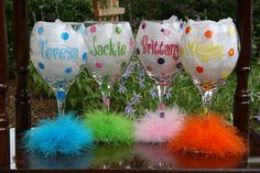 Set of 4 Personalized Polka Dot Wine Glasses