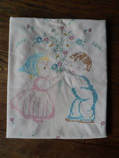 Vintage Hand Made Hand Embroidered Pastel Pink Corduroy by RRGS, $40.00