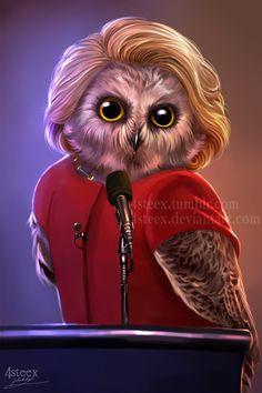 USA elections 2016 - Owlary Clinton by 4steex.deviantart.com on @DeviantArt