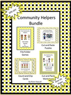 Our+Community+Helpers+Cut+and+Paste+Worksheets+ Our+Community+Helpers+File+Folder+Games Community+Helpers+Cut+and+Paste+Puzzles Kindergarten Special Education, Autism Education, Autism Classroom, Preschool Kindergarten, Classroom Ideas, Social Studies Worksheets, File Folder Games, Math Literacy, Community Helpers