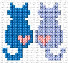 Love Free cross-stitch design 'Love', 27 x 25 stitches 3 colors Tiny Cross Stitch, Cat Cross Stitches, Cross Stitch Bookmarks, Cross Stitch Cards, Cross Stitch Animals, Cross Stitch Designs, Cross Stitching, Cross Stitch Embroidery, Embroidery Patterns