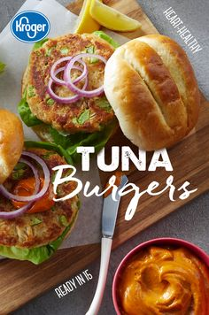 Tuna Burgers - QFC Cheryl Kolodzik cherigirl Fish Recipes This heart-healthy beef burger alternative, uses canned tuna combined with breadcrumbs, egg, celery and mayonnaise. For an even healthier take, skip the bun and serve it in a Bibb lettuce wrap Easy Tuna Burger Recipe, Tuna Recipes, Seafood Recipes, Keto Recipes, Dinner Recipes, Cooking Recipes, Healthy Recipes, Healthy Foods, Recipies