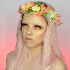 Peachy 🌷💫 Flower fairy vibes today. Crown made by the lovely @wallflower_artistry 💫 Used @nyxcosmetics sweet cheeks blush palette, the yellow from the @katvondbeauty pastel goth palette, @occmakeup lip tar on snow bunny, and @litcosmetics liquid metal in glisten (code KIMBERLEY20 for 20% off), @houseoflashes iconic lite and boudoir lite stacked 💫 hope you have the best weekend! Thank u for all the love 🌷💫🌷 (eyes are edited)