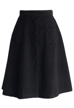 Retro Faux Suede A-line Skirt in Black - Skirt - Bottoms - Retro, Indie and Unique Fashion