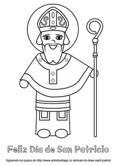 Heres A Simple Bold Outlined Colouring Page Of Saint Patrick Patron Ireland For Younger Children To Enjoy