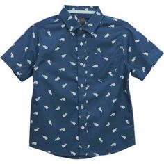 No Retreat Boys Whale Print Button Up Short Sleeve Pocket Woven Shirt, Blue Boys Shirts, Cute Shirts, Whale Print, Button Up, Print Button, Printed Shorts, Toddler Boys, Kids, Boy Outfits