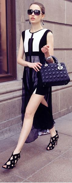 Black and white mixed colors dress, Slim chiffon dress, women dress, Black and white dress 1