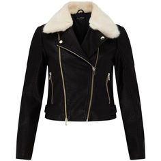 Miss Selfridge Faux Fur Collar Biker Jacket, Black (€65) ❤ liked on Polyvore featuring outerwear, jackets, cropped motorcycle jacket, studded moto jacket, faux fur collar jacket, rider jacket and moto jackets