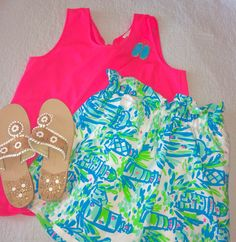 Lilly high beams print skirt mixed with a bow back j crew tank