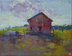 Barn Down the Street #3 by Debra Joyce Dawson, Oil, 8 x 10 Canvas Size, Oil On Canvas, Dandelion Oil, Tower Of Power, Pomegranate Oil, Oil Painters, Pond, Ohio, It Works