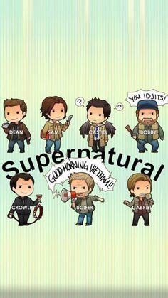 cute spn More Mais Supernatural Cartoon, Supernatural Drawings, Supernatural Bloopers, Supernatural Fan Art, Supernatural Imagines, Supernatural Wallpaper Iphone, Supernatural Pictures, Castiel, Crowley