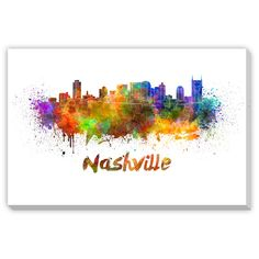 Gallery Direct Paulrommer's 'Nashville Skyline in Watercolor I' Gallery Wrap