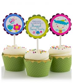 Purple Fairy Birthday Party Cupcake Toppers by SimplyGenie.com