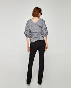 CHECKED WRAP BLOUSE-View all-TOPS-WOMAN | ZARA United States