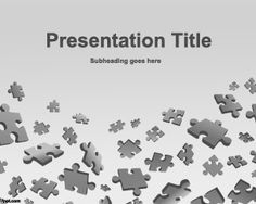 Puzzle Game PowerPoint Template with gray background and pieces of puzzle