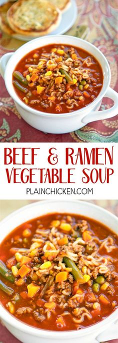 Ramen Vegetable Soup - only 5 ingredients and ready in under 20 minutes! Ground beef, Vegetable Juice, Onion Soup Mix, Beef Ramen Noodles and Mixed Vegetables. Everyone loved this soup and went back for seconds. Great for a crowd! Ramen Recipes, Vegetable Recipes, Beef Recipes, Cooking Recipes, Ramin Noodle Recipes, Vegetable Soups, Fall Recipes, Drink Recipes, Vegan Recipes