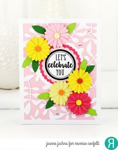 Card by Jeanne Jachna. Reverse Confetti stamps: Circle Wishes. Confetti Cuts dies: Leaves Cover Panel, Scalloped Circle, Flowers For Mom. Mother's Day card.