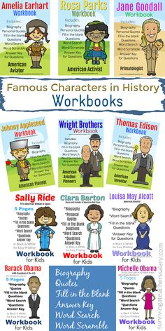 11 Famous People in History Workbook - Presidents, Inventors, Women, Scientist Michelle Obama Biography, Rosa Parks Biography, Barack And Michelle, Famous People In History, Women In History, Black History, Sally Ride Biography, Clara Barton, Scramble Words