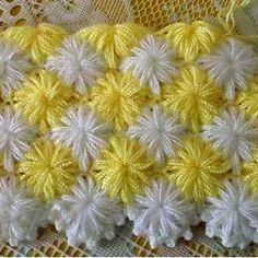 This Pin was discovered by azi Puff Stitch Crochet, Crochet Crocodile Stitch, Plaid Crochet, Crochet Stitches Patterns, Crochet Designs, Crochet Yarn, Cute Crochet, Crochet Doilies, Crochet Flowers