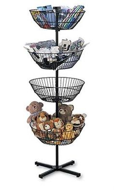 Great looking chrome display bins are a real impulse sales builder. Makes merchandise easy to see and easy to shop. Large Wire Basket, Wire Baskets, Toy Storage, Craft Storage, Craft Show Displays, Display Ideas, Yarn Display, Toy Display, Booth Displays