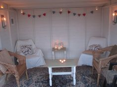 Interior of Helios Summerhouse decorated. - Daily Home Decorations Decor, Wendy House, Summer House Interiors, Beach Hut Decor, House Interior, Interior, Shed Interior, Summer House, Summer House Garden