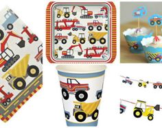 Trucks, Diggers and Tractors Big Rig Party Range. Plates, Cups, Napkins, Cupcake Wraps and a Party Pack for 12 machine-crazy little boys!