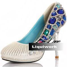 Ivory White Leather Blue Crystal High Heel Platform Wedding Bridal Shoe SKU-1090349