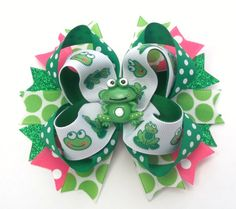 Cute Frog Boutique Handmade Hair Bow  Frog by JustinesBoutiqueBows
