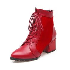 Women's Low-Heels Pointed Closed Toe Pu Low-Top Solid Zipper Boots Red-Zippers 43