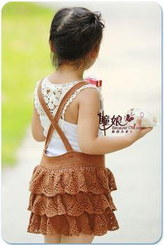 Knitting For Kids, Crochet For Kids, Crochet Baby, Knit Crochet, Crochet Skirts, Crochet Scarves, Crochet Clothes, Baby Skirt, Baby Dress