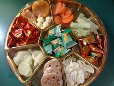 "Lunar New Year ""Harmony Tray"" filled with sweet and savory treats: candied fruit, nuts and seeds, each representing some form of good fortune. There is often 8 snack compartments, since the number 8 is a homonym for PROSPERITY."