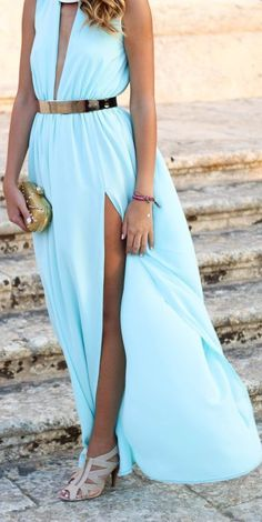 Gorgeous light blue maxi with a metallic belt and nude sandals.