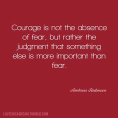 Courage is not the absence of fear, but rather the judgement that something else is more important than fear!