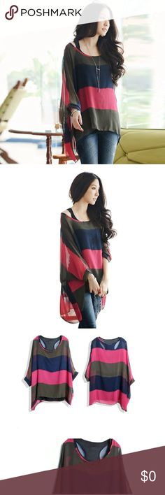 "Loose bat sleeve bohemian chiffon blouse. Size:L Bust:168cm/66.1"" Front Length:56cm/22"" Sleeve:51cm/20"" Back Length:72cm/28.3"".                 Material:Chiffon  Clothing Length:Regular  Sleeve Style:Full  Style:Casual  Collar:O-Neck  Sleeve Length:Full wensltd Tops Blouses"