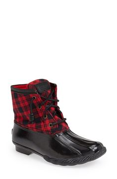 I'm such a sucker for tartan. Sperry Top-Sider® 'Saltwater' Duck Boot (Women) at Nordstrom.com. Make waves with confidence in these waterproof boots that stylishly protect you from the rain and slush. Micro-fleeced lining and a siped, lugged sole provide warmth and superior traction.