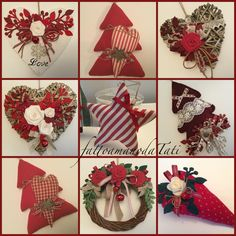 Natale rosso...by fattoamanodaTati www.facebook.com/fattoamanodatati Felt Christmas, Christmas Time, Christmas Wreaths, Christmas Crafts, Homemade Christmas Decorations, Felt Decorations, Holiday Decor, Felt Crafts, Diy And Crafts