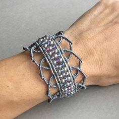 Grey Beaded, Lacy Cuff Macrame Bracelet by PrettyKnotsnBeads on Etsy