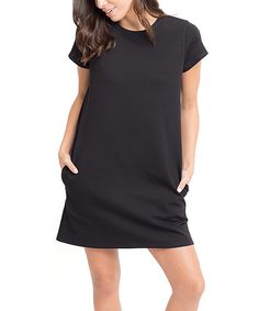 Look what I found on #zulily! Caralase Black Pocket Crewneck Shift Dress by Caralase #zulilyfinds