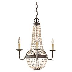 Murray Feiss F2755/3PBR Charlotte 3 Light Chandelier, Peruvian Bronze