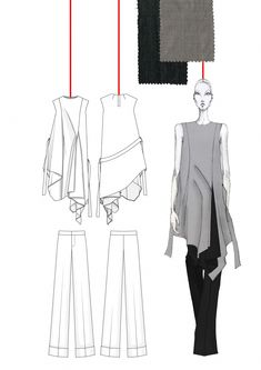Fashion Illustrations BA degree final collection Draping collection inspired by 'the red thread'. - BA degree final collection Draping collection inspired by 'the red thread'. Fashion Portfolio Layout, Fashion Design Sketchbook, Portfolio Design, Illustration Mode, Fashion Illustration Sketches, Fashion Sketches, Dress Sketches, Drawing Fashion, Design Illustrations