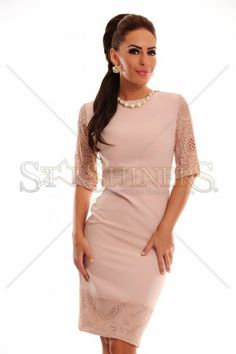 LaDonna Adorable Essence Rosa Dress, back zipper fastening, short transparent sleeves, lace details, slightly elastic fabric Peplum Dress, Bodycon Dress, Female Bodies, Lace Detail, Sexy, Skirts, Clothes, Collection, Shopping