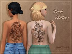 Sims 4 CC's - The Best: BACK TATTOOS by Trillyke