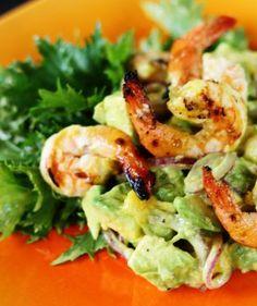 Recipe for Avocado Mango Salad with Grilled Shrimp